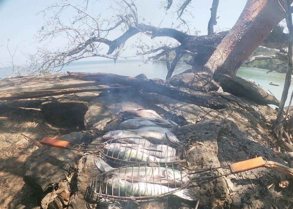 quarantaine gezin op reis visvangst